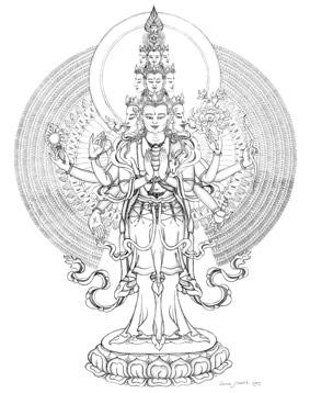 1000-armige Avalokiteshvara (Chenrezig), door Carmen Mensink
