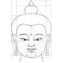Boeddha gezicht getekend volgens het raster met verhoudingen