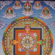 Deze al wat oudere Chenrezig Thangka (Boeddha van Mededogen; in het Sanskrit Avalokiteshvara genaamd), moest op een aantal punten verbeterd worden om zo aan de Boeddhistische traditie te kunnen voldoen.
