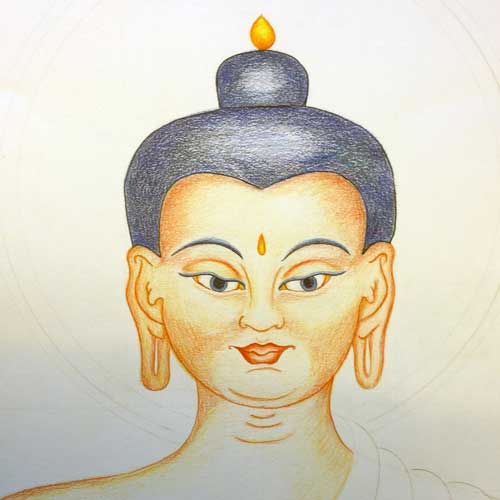 Tibetaanse boeddha tekenen