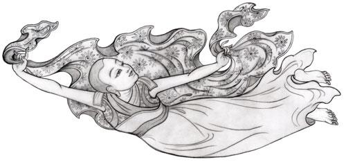 Vliegende mahasiddha, getekend door Carmen Mensink