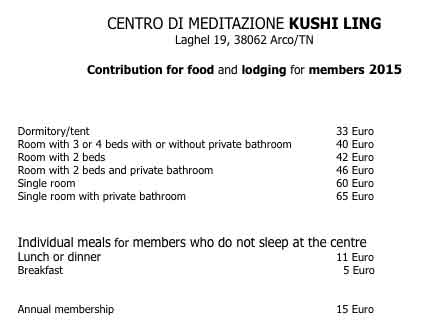 Kushi Ling prices for lodging and food and room types
