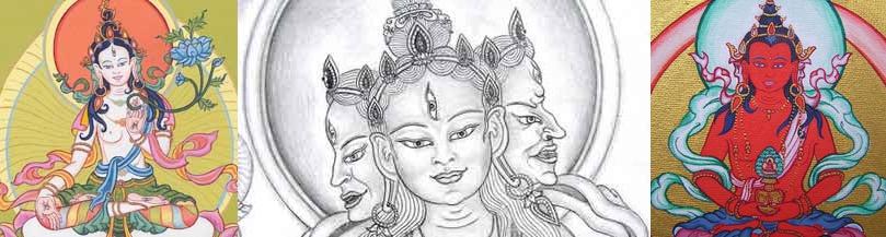 De drie Boeddha's van Lang Leven: Witte Tara, Ushnisha Vijaya en Amitayus