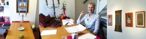 Privé thangka lessen zijn mogelijk voor 1 to 4 personen in de werkruimte van Carmen of bij u thuis